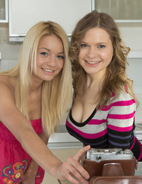 Amazing blondes get down and dirty in the kitchen as they play around with their seductive toys of sexiness.